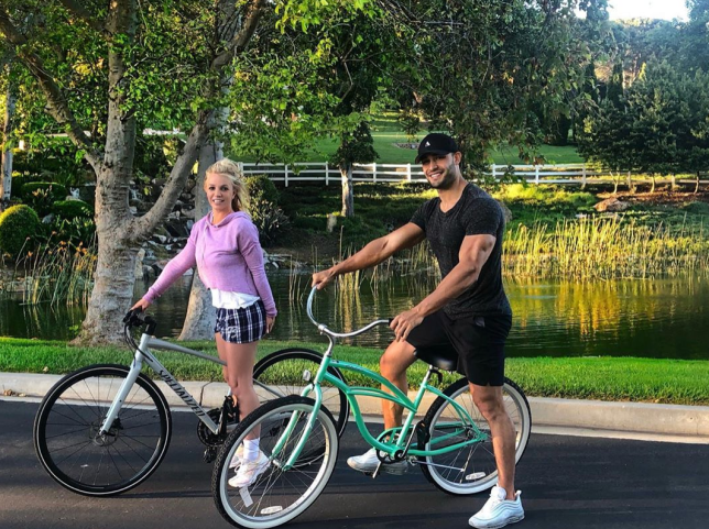 Britney Spears and Sam Asghari on bike ride