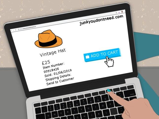 Illustration of someone shopping online