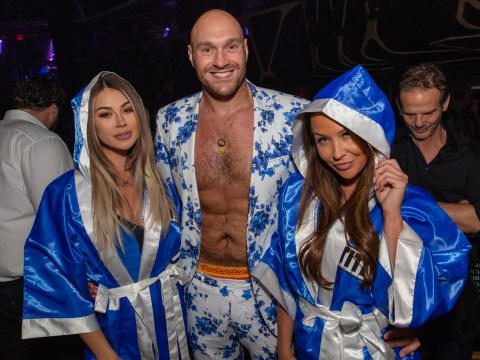 Eat your heart out, Tommy: Love Island star's brother Tyson Fury laps up boxing win with ring girls in Vegas