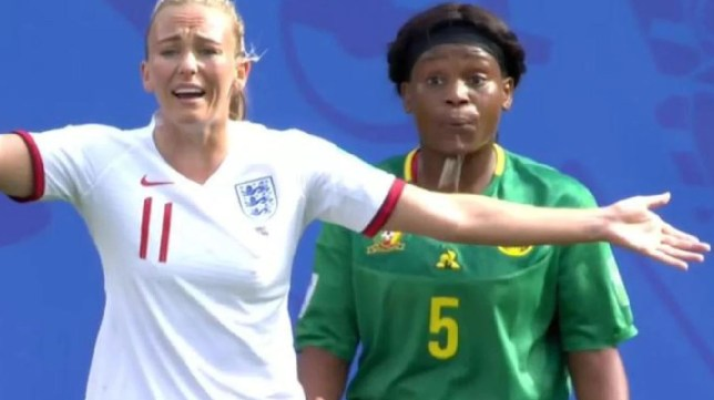 Toni Duggan appeared to be spat on by Cameroon's Augustine Ejangue in England's win