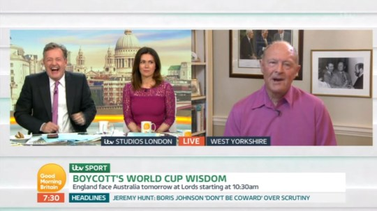 Piers Morgan, Susanna Reid and Geoffrey Boycott on Good Morning Britain