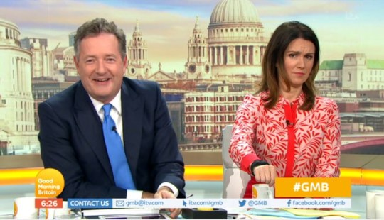 Piers Morgan gives Susanna Reid an electric shock with a watch on Good Morning Britain