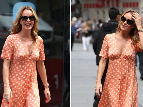 Amanda Holden is all smiles after she was banned from daughter's sports day
