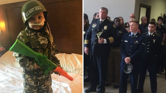 Five year-old River 'Oakley' Nimmo died without fulfilling his dream of joining the US Army...so servicemen and women decided to honor him with a military-style funeral