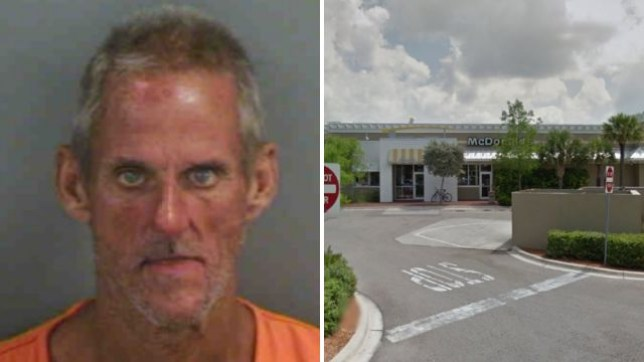 John F Morgan reportedly started dancing naked at this McDonald's in Naples, Florida...before trying to have sex with a railing