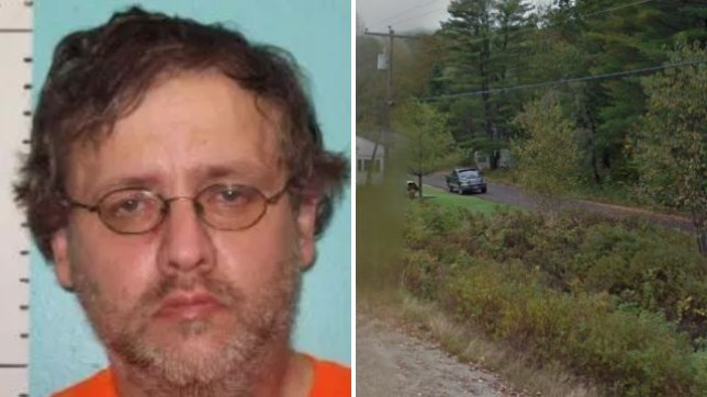 Jason Baker reportedly knocked out a woman, then tied her up and raped her. She fled naked and ran down this road before summoning help from neighbors