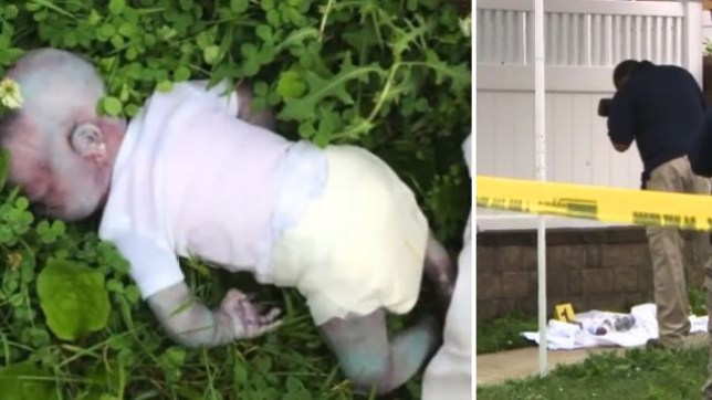 This realistic-looking theatrical prop of a 'decomposing' baby sparked a huge police operation after a jogger spotted it and dialed 911 to report she'd seen a dead baby while out on her morning run
