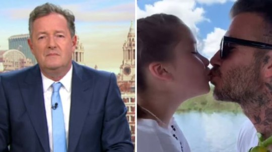 Piers Morgan disapproves of David Beckham kissing his daughter on the lips