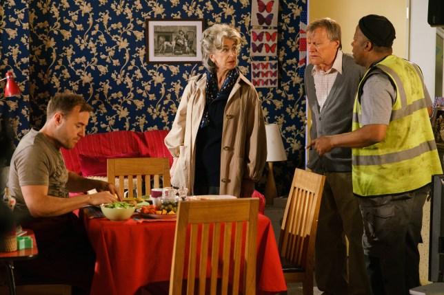 Roy annoys Evelyn in Coronation Street