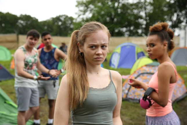 Juliet at the festival in Hollyoaks