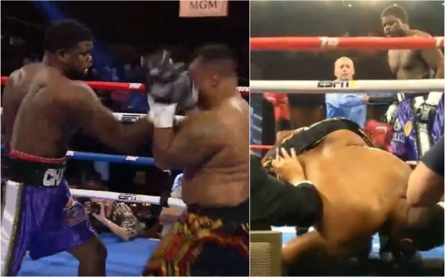 Joel Caudle was sent flying out of the ring after an uppercut from Cassius Chaney