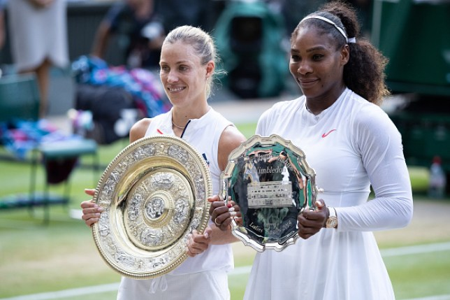 Angelique Kerber and Serena Williams together on Centre Court at Wimbledon, holding their trophies