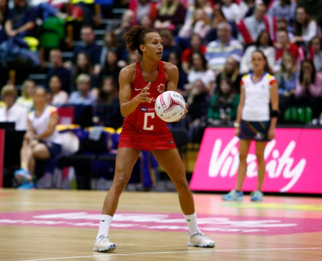 Serena Guthrie playing netball for England