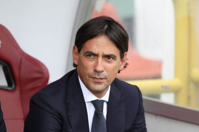 Lazio manager Simone Inzaghi looks on in the dugout