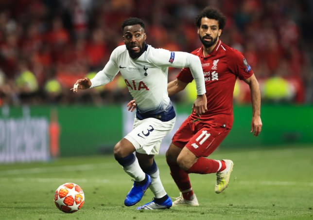 Danny Rose in action against Mohamed Salah in the Champions League final