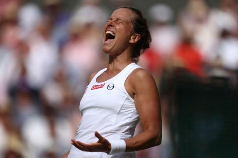 Barbora Strycova celebrates her Wimbledon win
