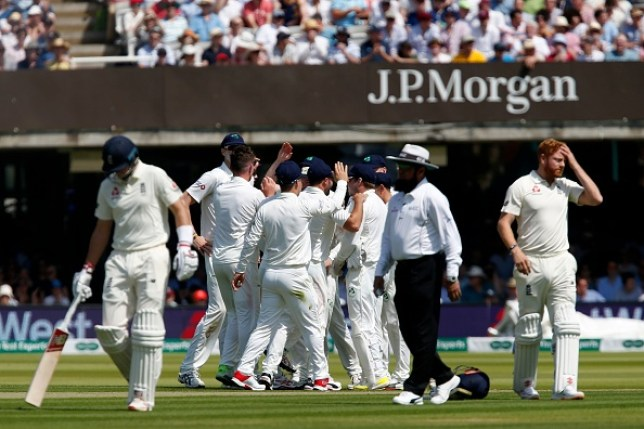 England were bowled out for 85 on day one of their Test against Ireland
