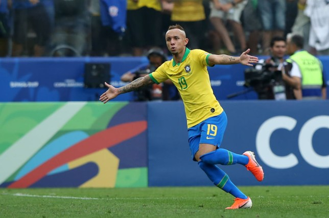 Everton celebrates scoring for Brazil at the Copa America