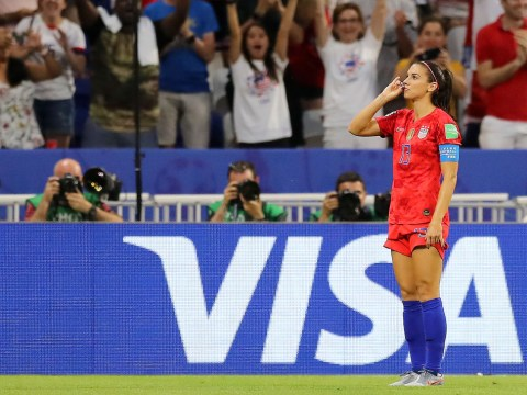 USA goalscorer Alex Morgan trolls England with tea-drinking celebration