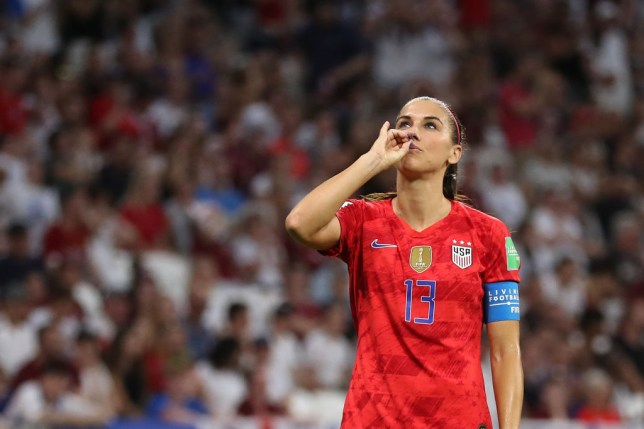 Alex Morgan celebrated her first-half goal by pretending to sip a cup of tea