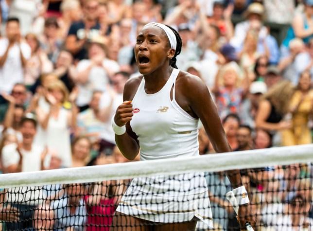 Cori Gauff celebrates her third-round win at Wimbledon
