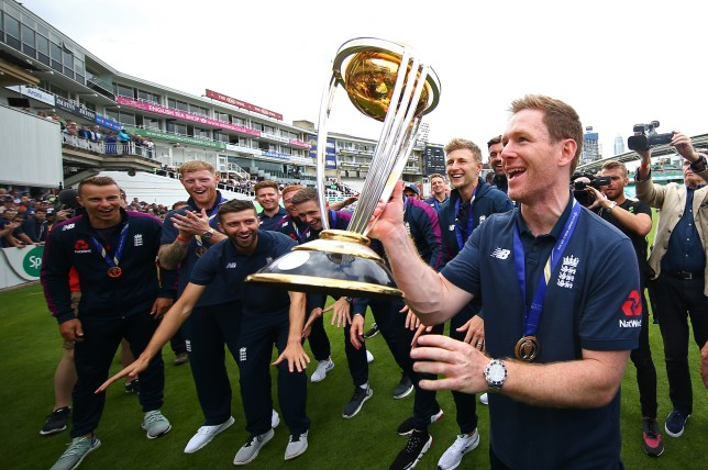 Eoin Morgan, captain of England's cricket team holding the trophy at the Kia Oval in London