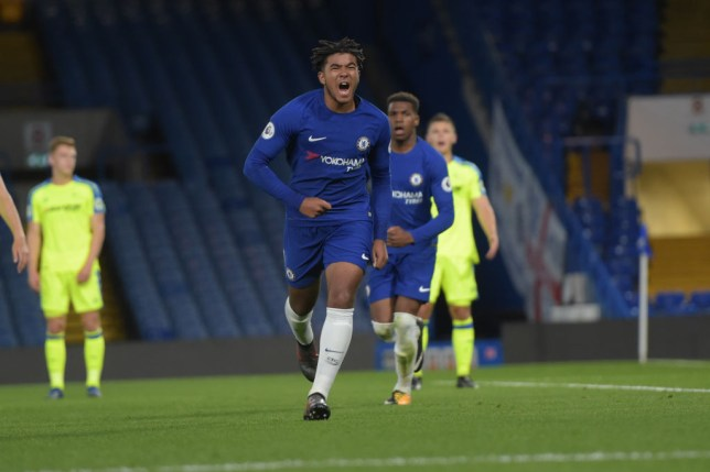 Reece James celebrates a goal for Chelsea's youth team