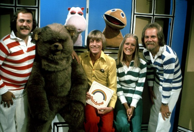 The old line up of the Television programme RAINBOW puppets ,Bungle (2nd left) Zippy (back right) and George (back left)