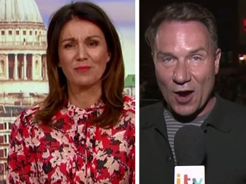 Piers Morgan and Susanna Reid apologise for 'fruity language' as revelers ambush Richard Arnold's live Good Morning Britain link