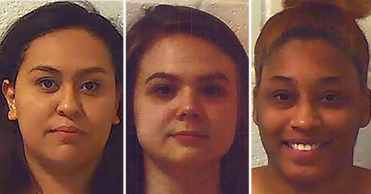 Jorden Bruce, Mya Moss and Lizbeth Ramirez allegedly Snapchatted an elderly senior living center patient having a stroke while swearing, vaping and flipping the bird at the camera (Picture: Jefferson PD)