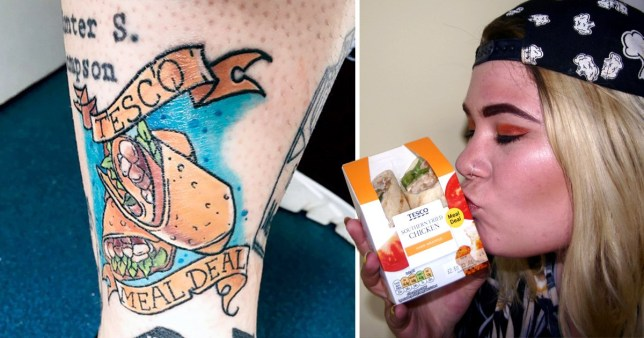 Lizzie Proctor loves the Tesco meal deal so much that she inked her favourite lunch time combo on her body