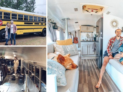 American couple take their two dogs and travel around the world in an old school bus