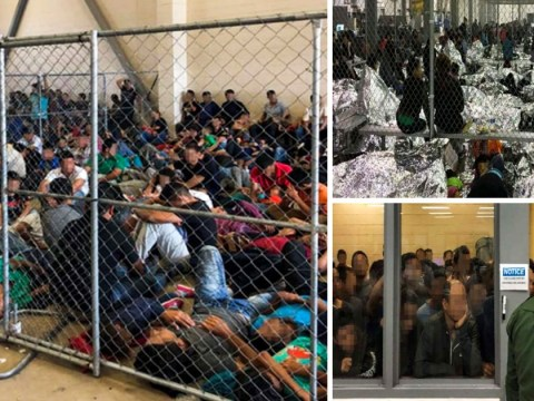 Pictures show women and children sleeping on floor at overcrowded detention centre