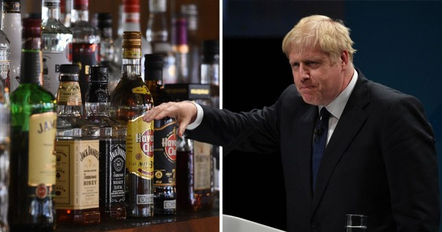 Pictures of bottles of alcohol next to Boris Johnson