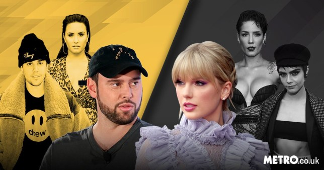 Scooter Braun, Taylor Swift, Justin Bieber, Demi Lovato, Halsey and Cara Delevingne