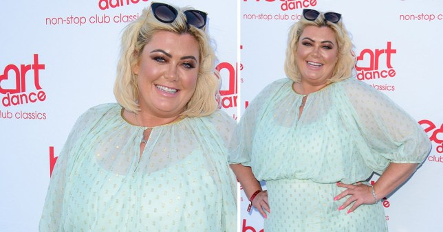 Gemma Collins in blue dress