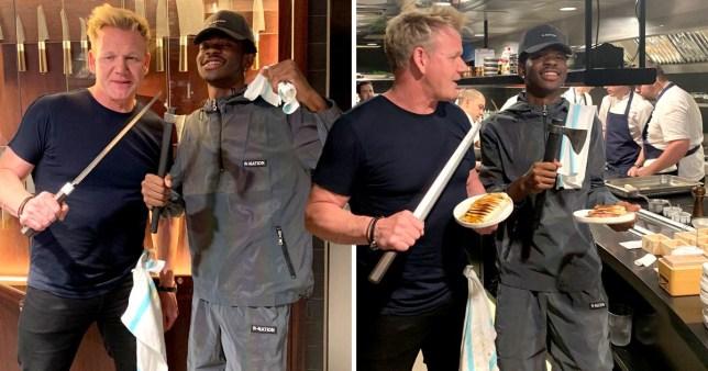 Gordon Ramsay and Lil Nas X making paninis