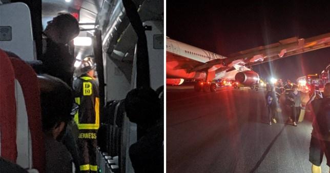 Boston airport and Virgin Atlantic plane