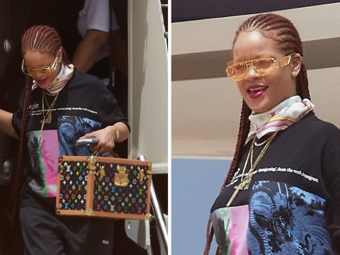 Rihanna makes a statement on 4th July with 'Immigrant' t-shirt as she flies to native Barbados