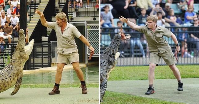 Steve Irwin and Robert Irwin pictured with crocodile