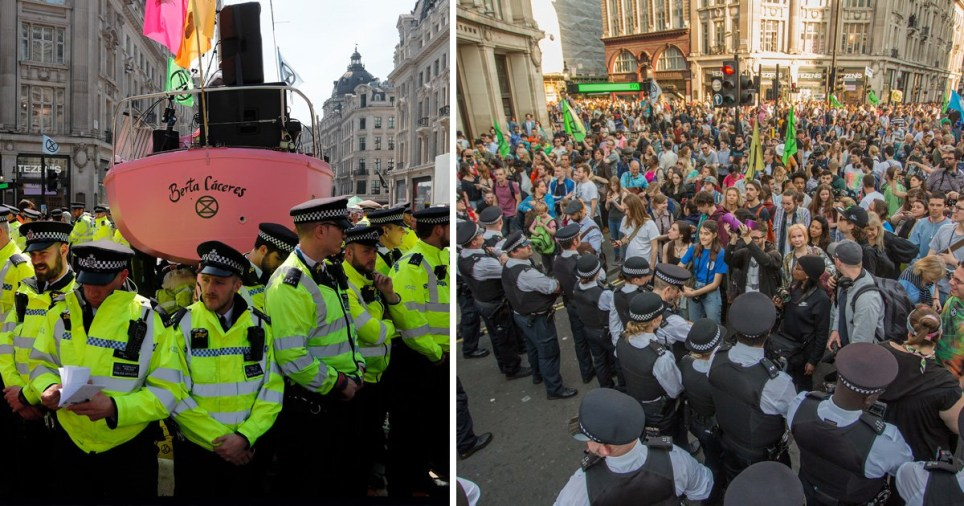 Two shots of police and demonstrators at the Extinction Rebellion protests in London in April 2019