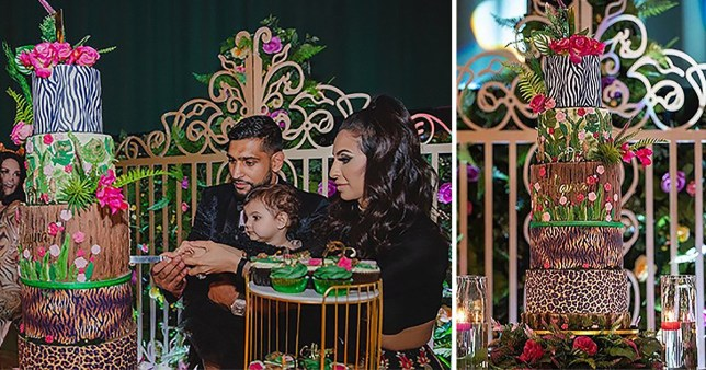 Amir Khan and Faryal Makhdoom and their daughter's birthday cake