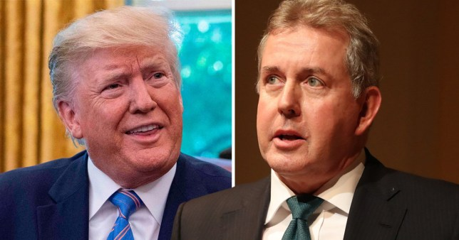 Sir Kim Darroch, right, warns that Trump could be 'indebted to dodgy Russians'