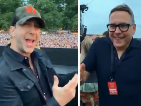 David Schwimmer and David Walliams are the ultimate dad dancers as they boogie to Stevie Wonder with Kate Beckinsale