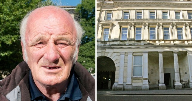 Picture of former football coach Ronald Webb, 75, who tried to rape a 13-year-old player in the 1980s, next to Bristol Crown Court