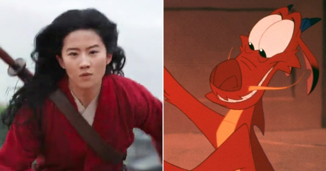 Liu Yifei as Hua Mulan and Mushu in the original Disney Mulan movie