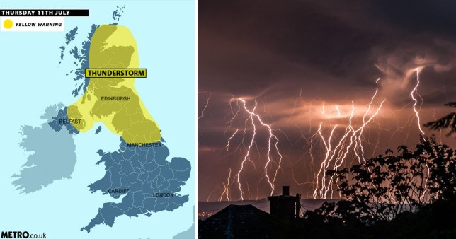 'Danger to life' weather warning with thunderstorms and heavy rain on the way