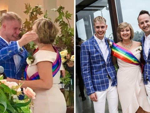 Christian mum walks gay son down the aisle while wearing a rainbow sash at his wedding