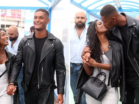 Jourdan Riane and Danny Williams kiss upon landing back in UK after Love Island dumping