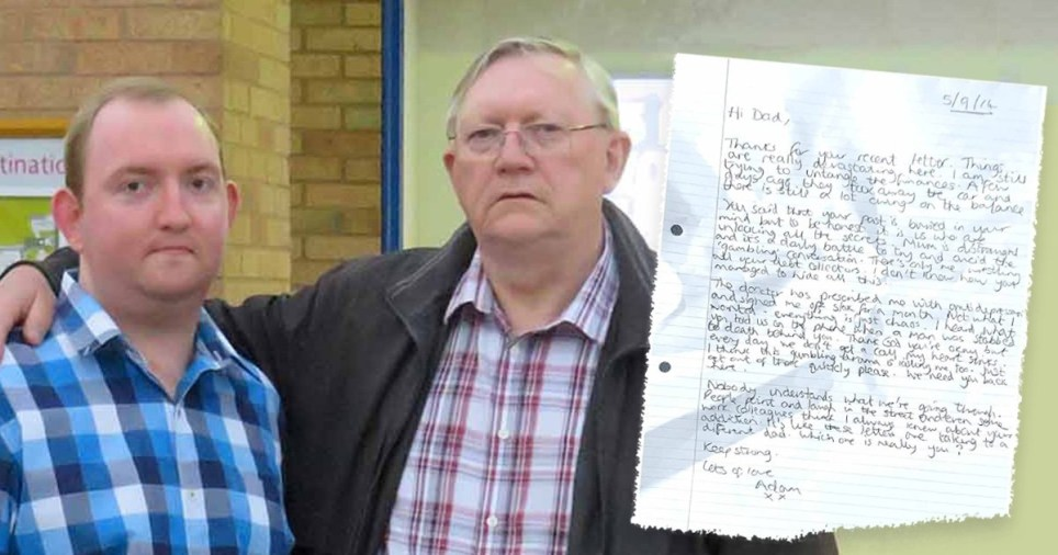 David and Adam Bradford have joined together to raise awareness of the dangers of gambling and shared their letters from when David was in prison